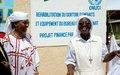 Projet à impact rapide de l'ONUCI : la Directrice de l'orphelinat '' La Casa Del Sol'' exhibe quelques pas de danse pour remercier l'ONUCI d'avoir rénové l'établissement (Tabou, mars 2016)