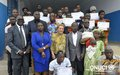 Ex-combatants received training certificates in masonry, carpentry, electricity and plumbing from the UNOCI Disarmament, Demobilization and Reinsertion Division (DDR), at the end of a programme financed by the UN Mission (Bingerville, July 2016)